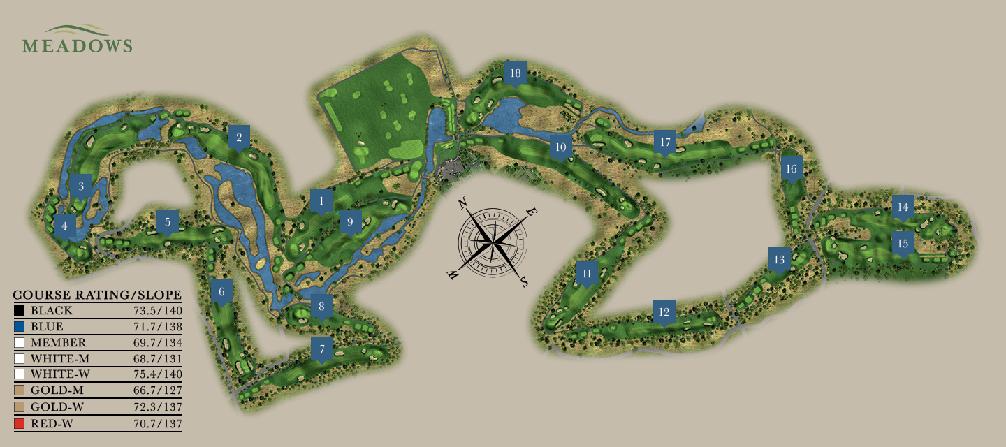 Meadows Golf Course Map at Sunriver Resort