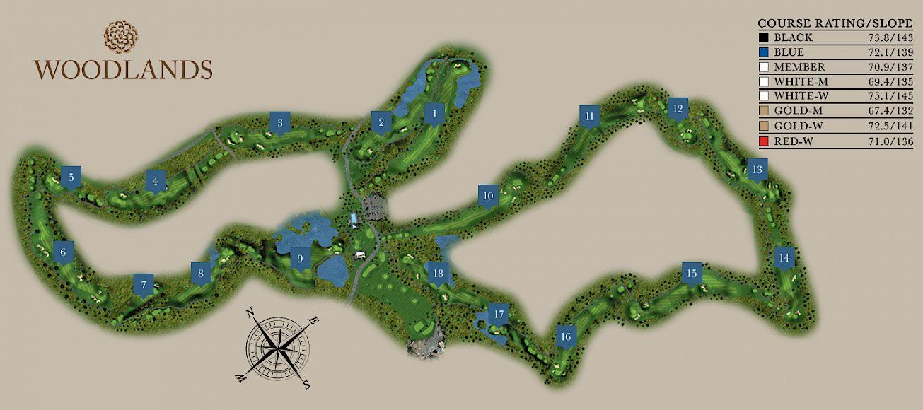 Woodlands Golf Course Map at Sunriver Resort